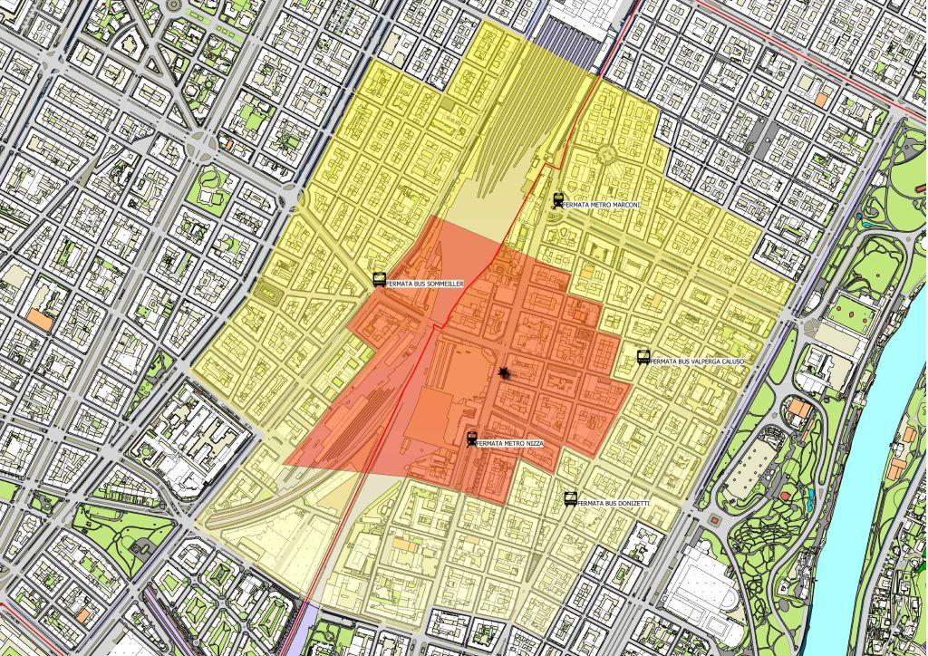 Diocesi Torino: pianta zone di Torino evacuate per rimozione ordigno bellico 01-12-19