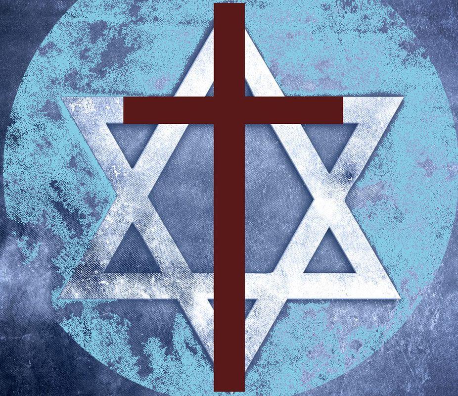 Diocesi Torino: simboli sovrapposti di cristianesimo e ebraismo