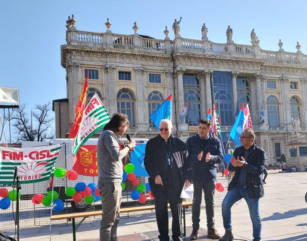 Diocesi Torino: mons. Nosiglia alla manifestazione dei metalmeccanici a Torino il 14 febbraio 2020